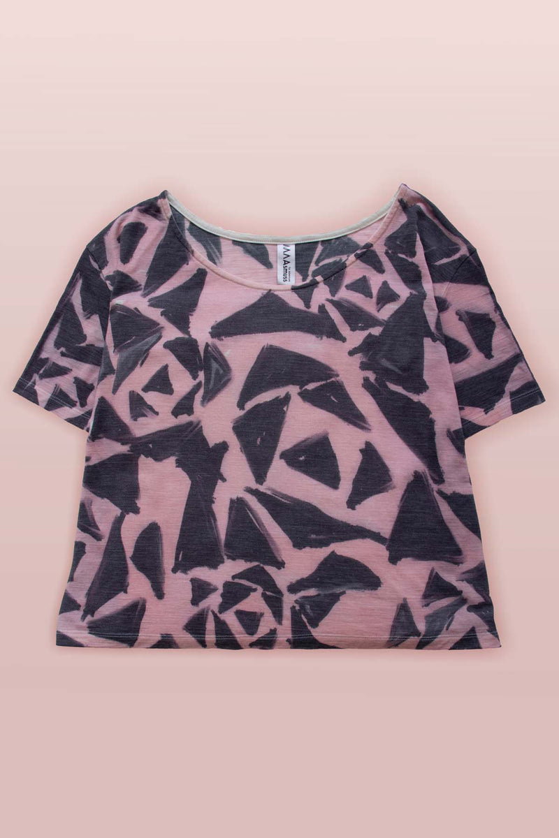Image of the Asmuss Black Rose Print A-line T-shirt lying flat