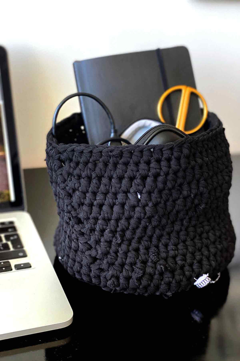 Asmuss Large Limited Edition hand crocheted basket in black made from upcycled materials for your home office essentials. Perfect to cover plant pots or for your working from office.
