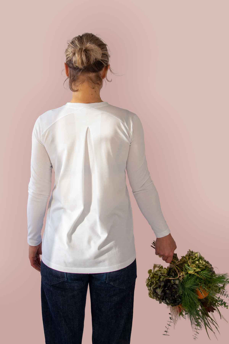 Inverted Pleat Long Sleeve T-shirt in White