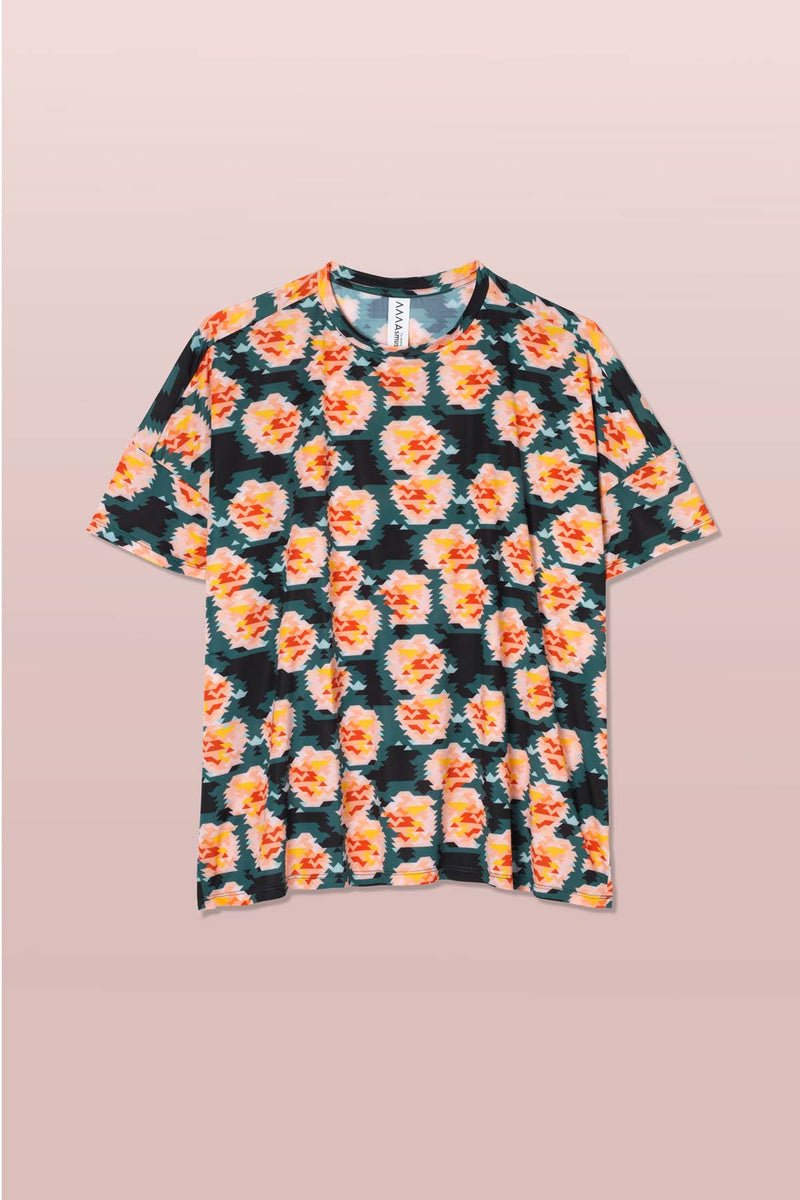 Asmuss Geometric Rose Print Boxy T-shirt with allover geometric rose print. Made in 100% recycled sweat wicking fabric which is perfect as activewear or casual wear for hot days, running or any of your everyday adventures.