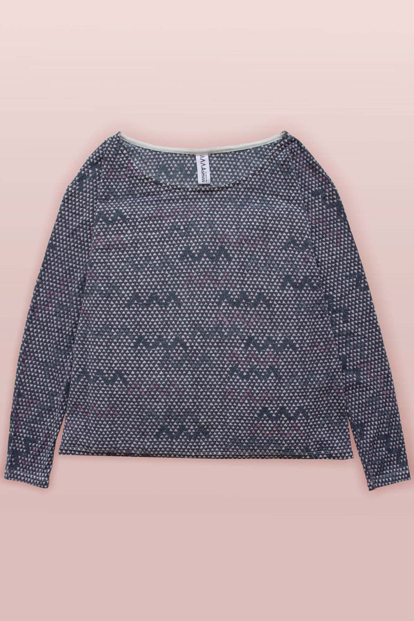 Asmuss Zig Zag A-line Long Sleeve Limited Edition T-shirt laying flat