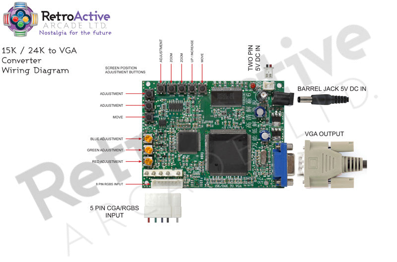 15k CGA to VGA Video Converter Connections