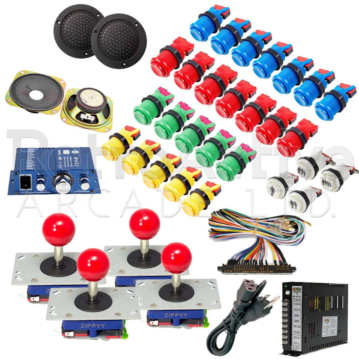 4 Player Complete Stand-Up Arcade Kit Arcade Bundles Retro Active Arcade - Retro Active Arcade