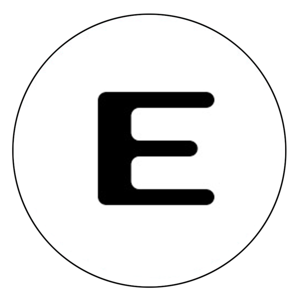 """E"" Letter Button Decal"