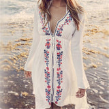 Beach Cover up Embroidery Vintage Swimwear