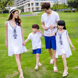 Embroidery Flowers Family Matching Clothing Sets