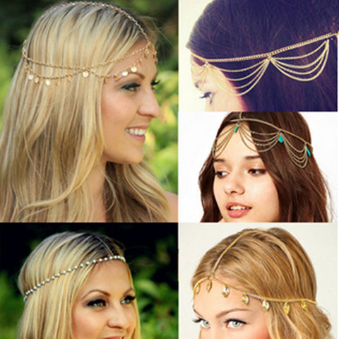 Multi Layer Metal Gold Color Hair Jewelry