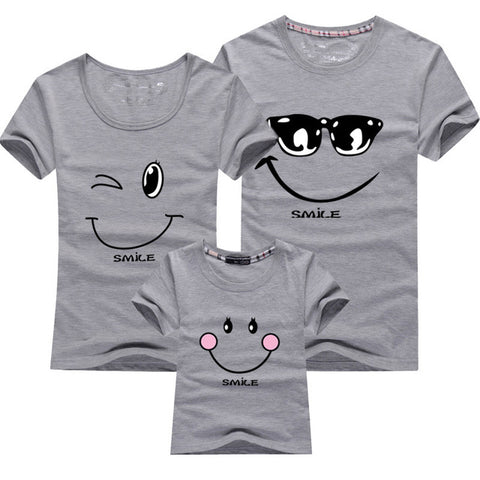 Cartoon Smile Family Matching T-shirt - Gray