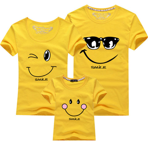 Cartoon Smile Family Matching T-shirt - Yellow