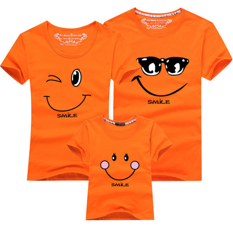 Cartoon Smile Family Matching T-shirt - Orange