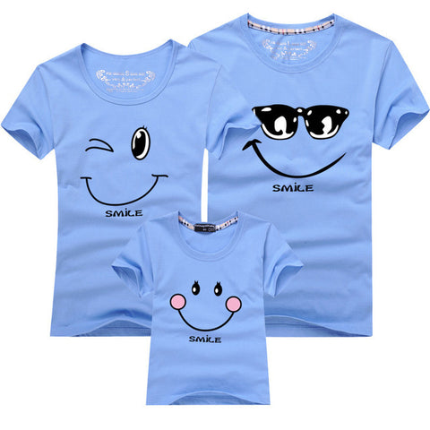 Cartoon Smile Family Matching T-shirt - Light Blue