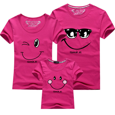 Cartoon Smile Family Matching T-shirt - Pink