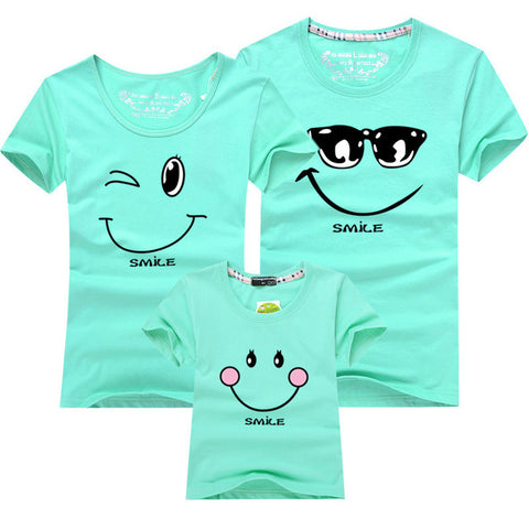 Cartoon Smile Family Matching T-shirt - Aqua