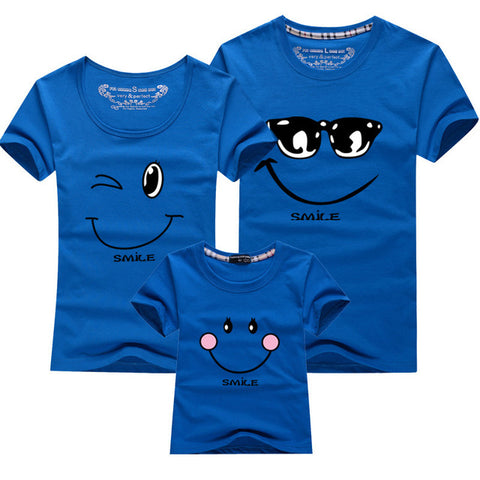 Cartoon Smile Family Matching T-shirt - Dark Blue