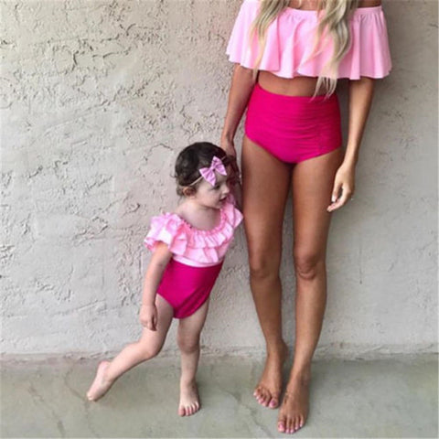 Mommy & Me Off-Shoulder Monokini and Bikini