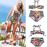 Front Bow Floral Mommy & Me Bathing Swimsuit