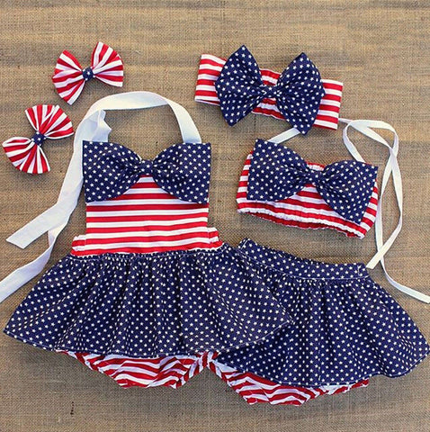 Sisters American Love Star Spangled Monokini and Bikini