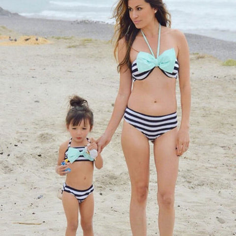 Mommy & Me Stripped Blue Bow Bikini