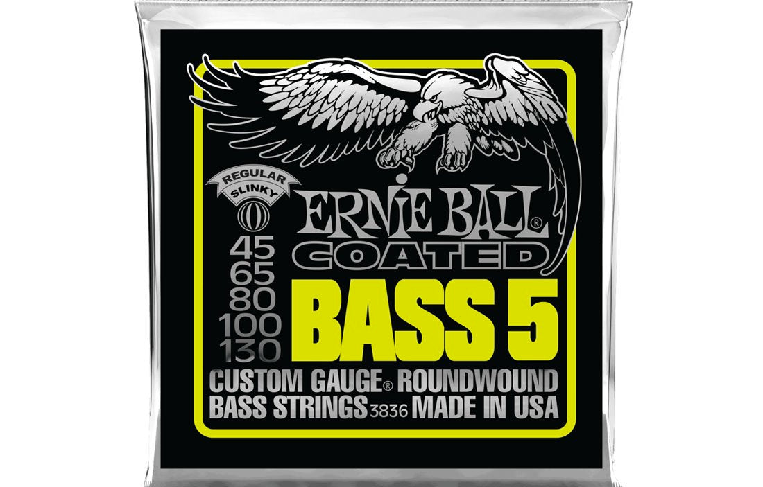 Ernie Ball Super Slinky Coated 5 String 45-130 - The Bass Gallery
