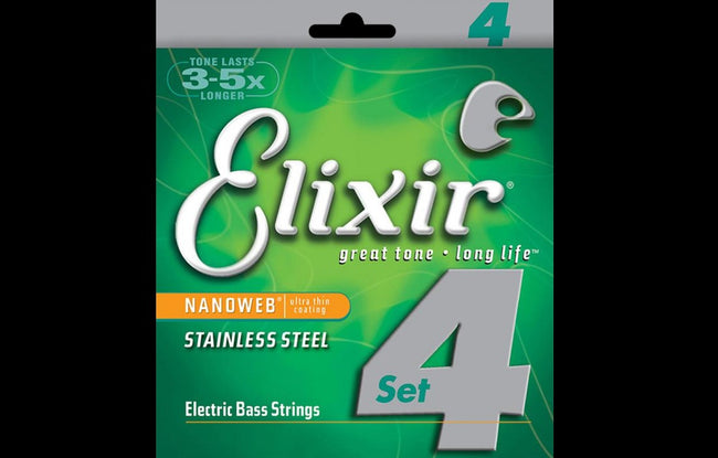 Elixir Stainless Steel Nanoweb (5 String Set) - The Bass Gallery