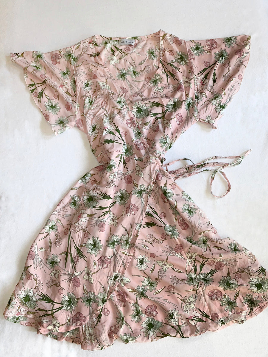 Delilah Pink Floral Wrap Dress