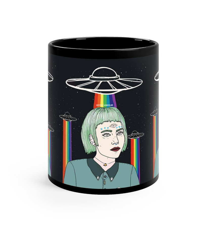Alien Girl Black Mug - Hipsters Wonderland - Tumblr Clothing - Tumblr Accessories- Aesthetic Clothing - Aesthetic Accessories - Hipster's Wonderland - Hipsterswonderland
