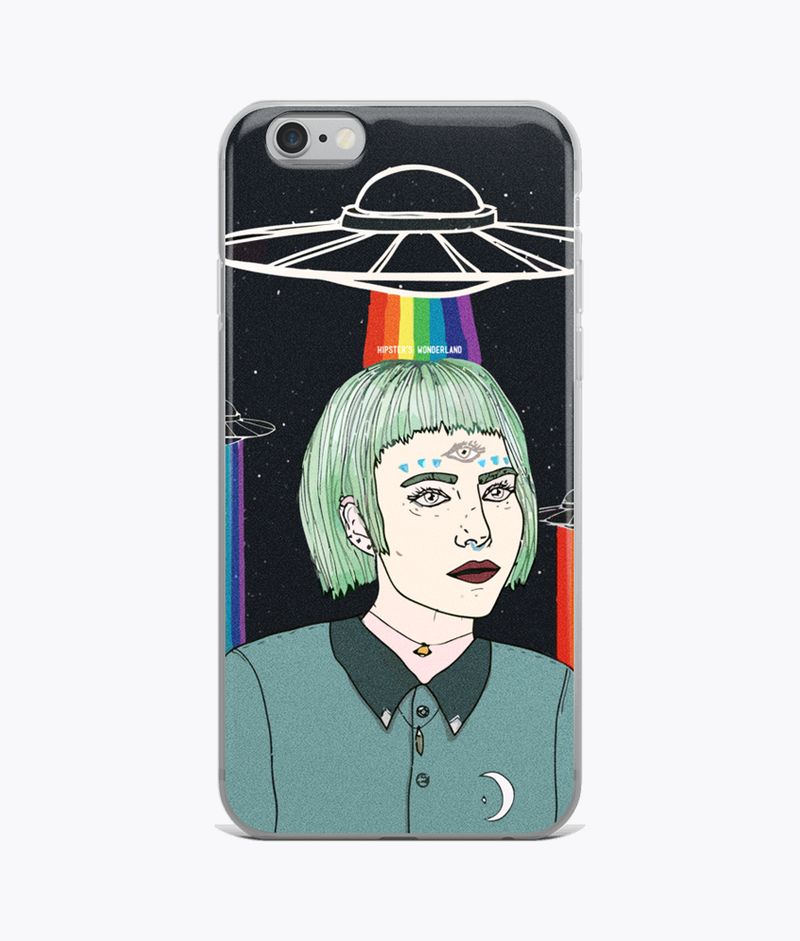 Alien Girl Clear iPhone Case - Hipsters Wonderland - Tumblr Clothing - Tumblr Accessories- Aesthetic Clothing - Aesthetic Accessories - Hipster's Wonderland - Hipsterswonderland