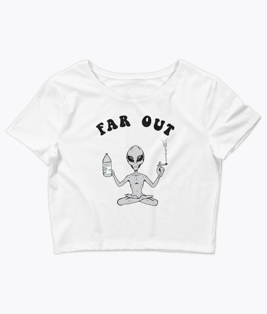 Far Out Alien Crop Tee - Hipsters Wonderland - Tumblr Clothing - Tumblr Accessories- Aesthetic Clothing - Aesthetic Accessories - Hipster's Wonderland - Hipsterswonderland