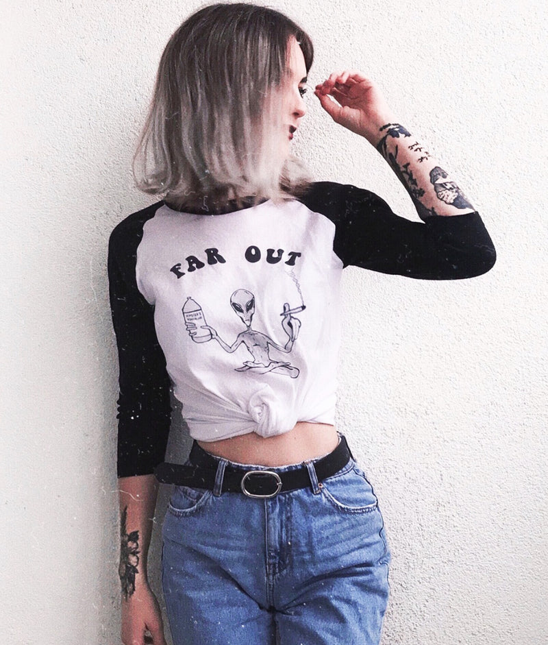 Far Out Alien Unisex Raglan - Hipsters Wonderland - Tumblr Clothing - Tumblr Accessories- Aesthetic Clothing - Aesthetic Accessories - Hipster's Wonderland - Hipsterswonderland