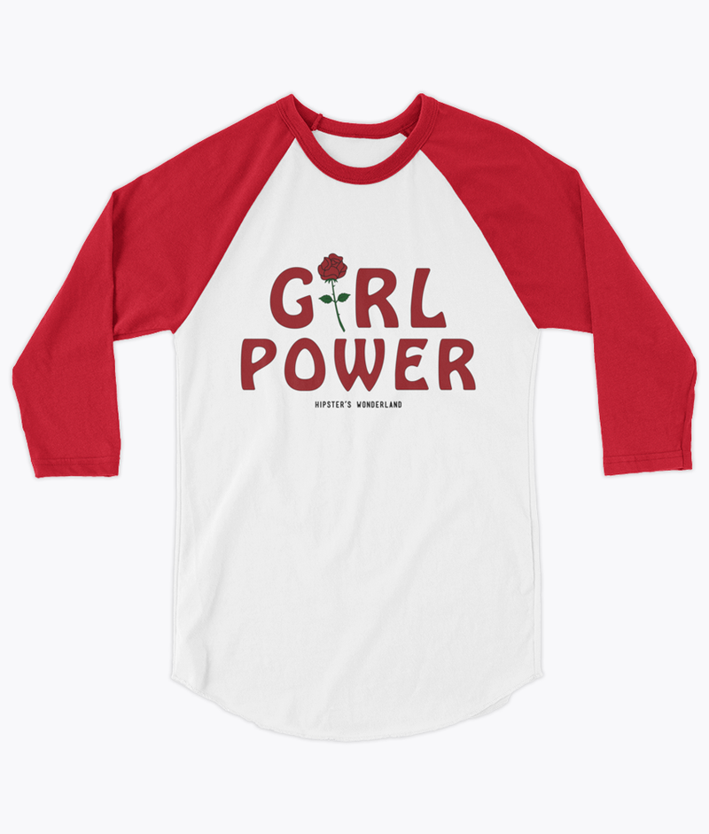 Girl Power Unisex Raglan - Hipsters Wonderland - Tumblr Clothing - Tumblr Accessories- Aesthetic Clothing - Aesthetic Accessories - Hipster's Wonderland - Hipsterswonderland