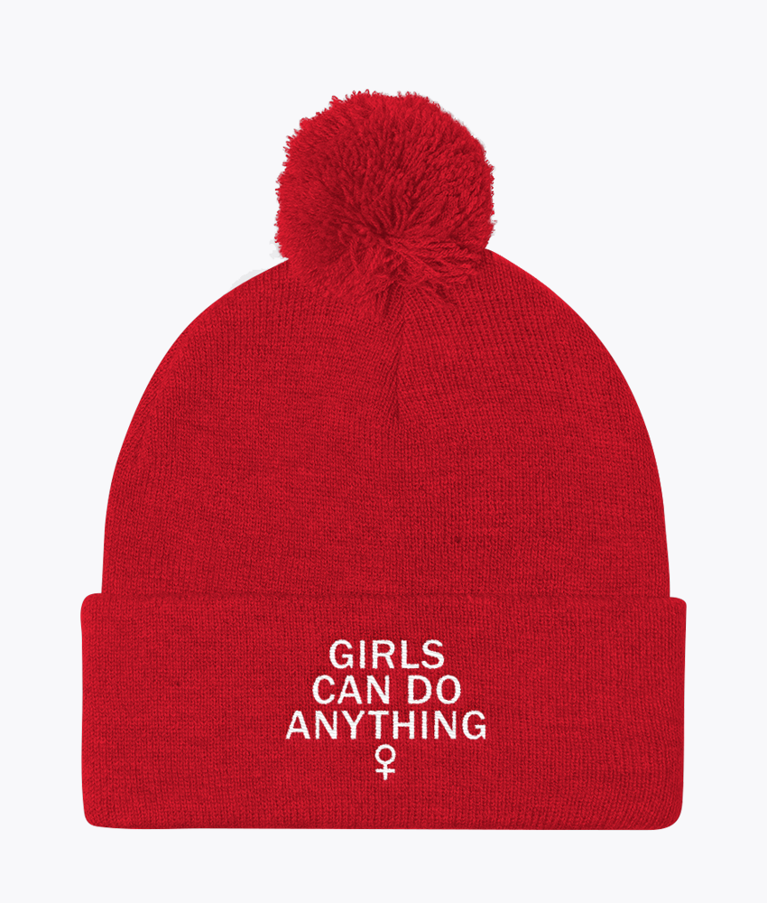 Girls Can Do Anything Pom Pom Beanie - Hipsters Wonderland - Tumblr Clothing - Tumblr Accessories- Aesthetic Clothing - Aesthetic Accessories - Hipster's Wonderland - Hipsterswonderland