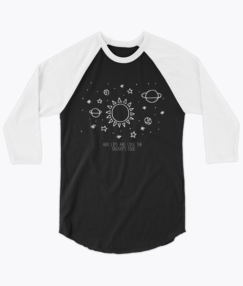 Her lips are like the Galaxy's edge Unisex Raglan - Hipsters Wonderland - Tumblr Clothing - Tumblr Accessories- Aesthetic Clothing - Aesthetic Accessories - Hipster's Wonderland - Hipsterswonderland