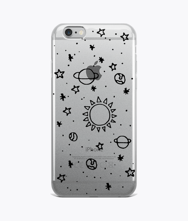 Planets Hand Drawn Clear iPhone Cases - Hipsters Wonderland - Tumblr Clothing - Tumblr Accessories- Aesthetic Clothing - Aesthetic Accessories - Hipster's Wonderland - Hipsterswonderland
