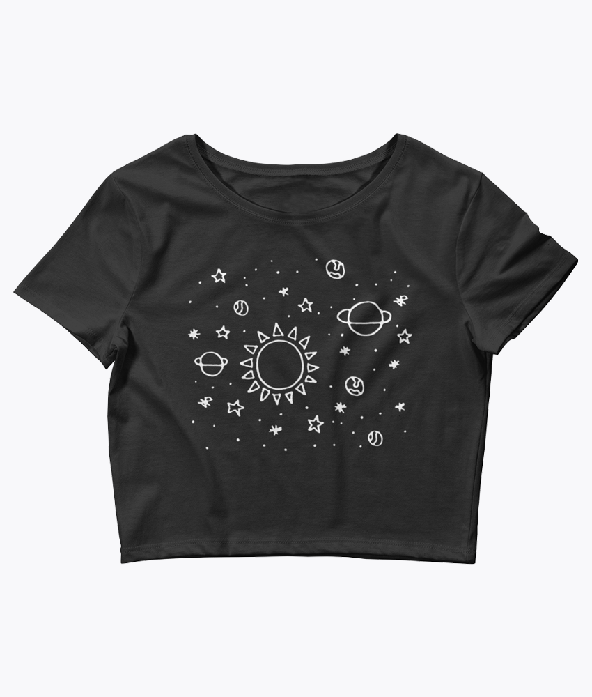 Planets Hand Drawn Crop Tee - Hipsters Wonderland - Tumblr Clothing - Tumblr Accessories- Aesthetic Clothing - Aesthetic Accessories - Hipster's Wonderland - Hipsterswonderland