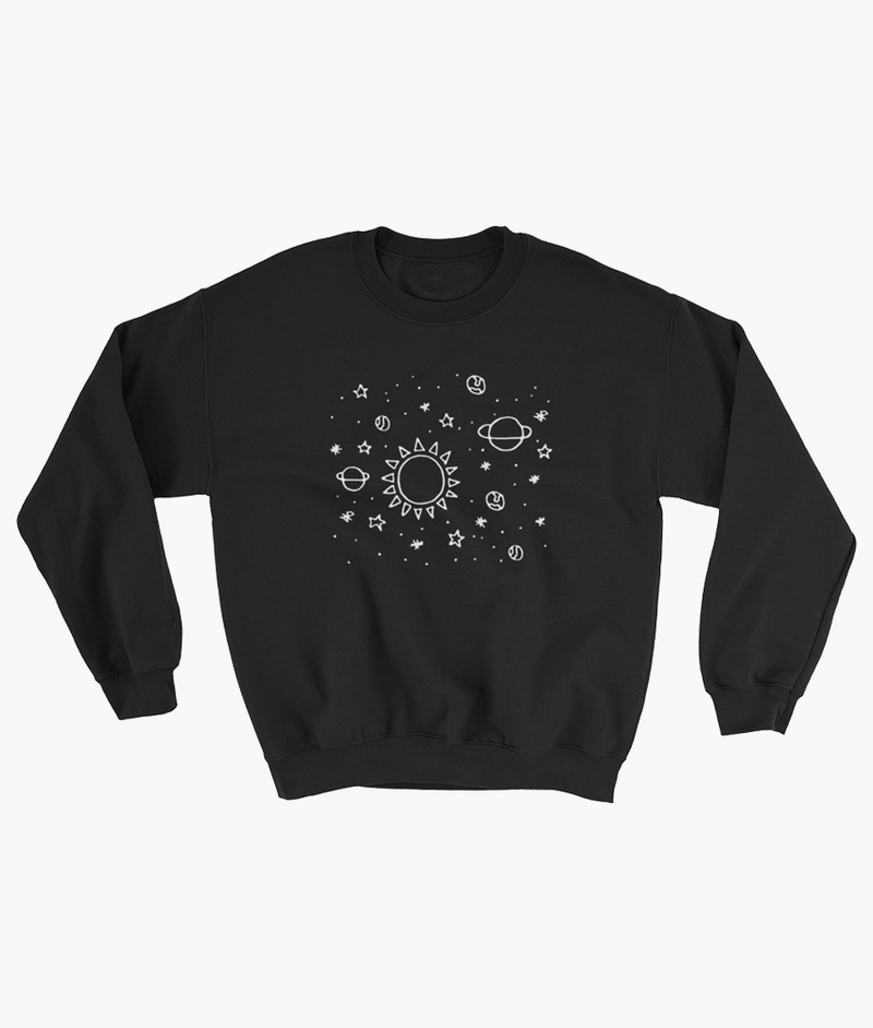 Planets Hand Drawn Sweatshirt - Hipsters Wonderland - Tumblr Clothing - Tumblr Accessories- Aesthetic Clothing - Aesthetic Accessories - Hipster's Wonderland - Hipsterswonderland