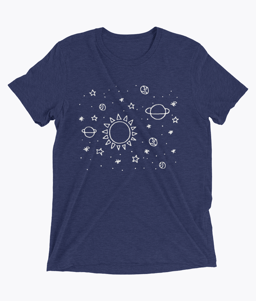 Planets Hand Drawn Tri-Blend T-Shirts - Hipsters Wonderland - Tumblr Clothing - Tumblr Accessories- Aesthetic Clothing - Aesthetic Accessories - Hipster's Wonderland - Hipsterswonderland