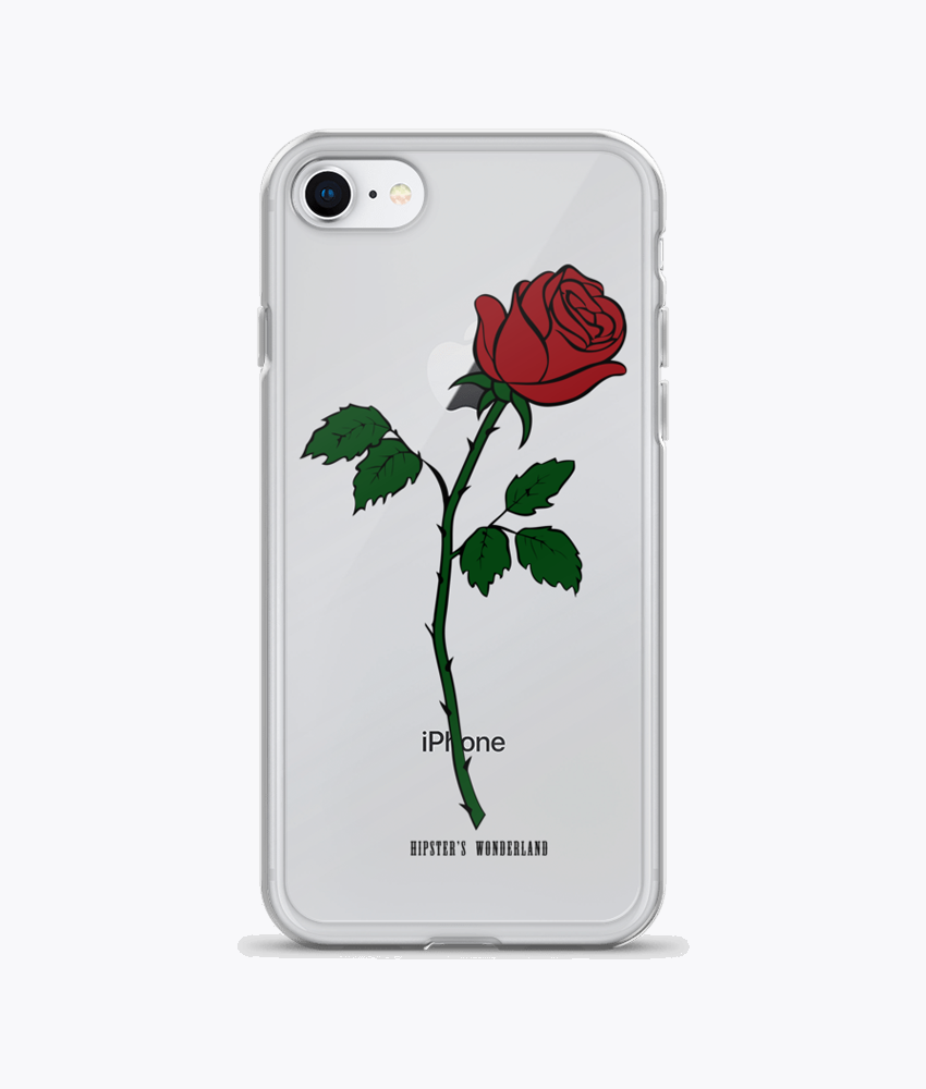 Red Rose Clear iPhone Cases - Hipsters Wonderland - Tumblr Clothing - Tumblr Accessories- Aesthetic Clothing - Aesthetic Accessories - Hipster's Wonderland - Hipsterswonderland