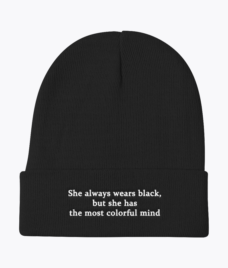 She Wears Black Knit Beanie - Hipsters Wonderland - Tumblr Clothing - Tumblr Accessories- Aesthetic Clothing - Aesthetic Accessories - Hipster's Wonderland - Hipsterswonderland