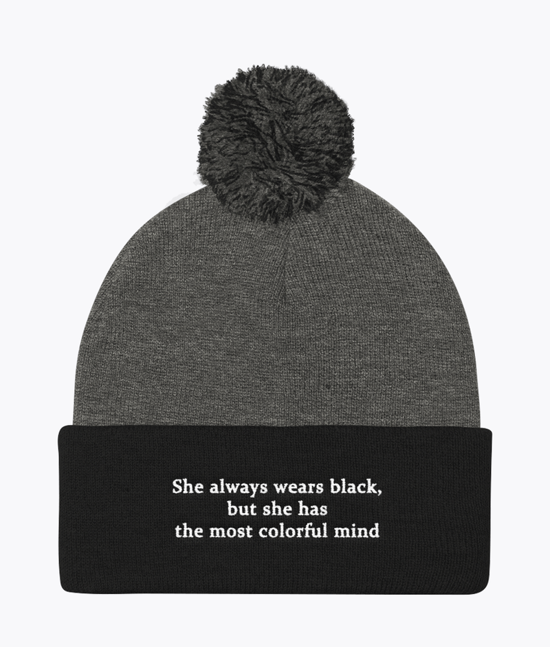 She Wears Black Pom Pom Beanie - Hipsters Wonderland - Tumblr Clothing - Tumblr Accessories- Aesthetic Clothing - Aesthetic Accessories - Hipster's Wonderland - Hipsterswonderland