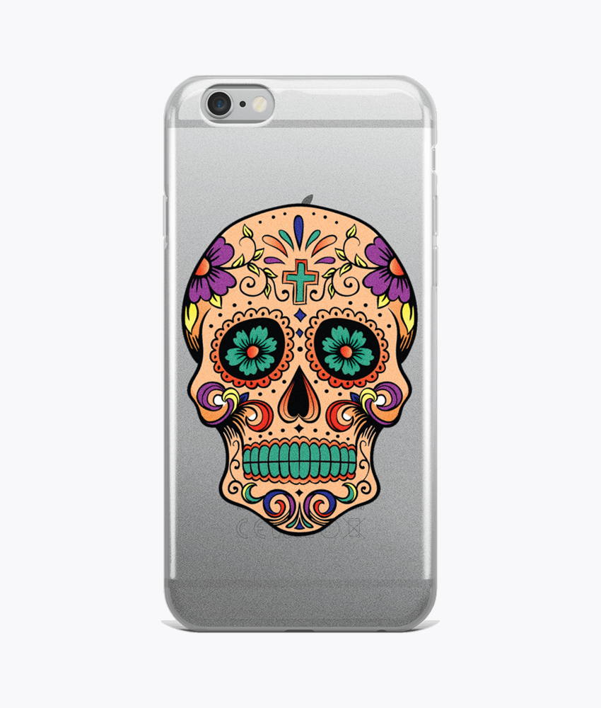 Sugar Skull Clear iPhone Cases - Hipsters Wonderland - Tumblr Clothing - Tumblr Accessories- Aesthetic Clothing - Aesthetic Accessories - Hipster's Wonderland - Hipsterswonderland