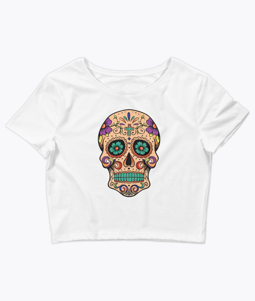 Sugar Skull Crop Tee - Hipsters Wonderland - Tumblr Clothing - Tumblr Accessories- Aesthetic Clothing - Aesthetic Accessories - Hipster's Wonderland - Hipsterswonderland