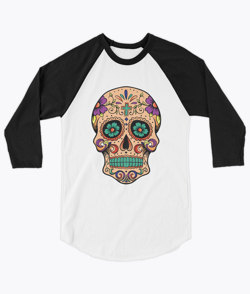 Sugar Skull Unisex Raglan - Hipsters Wonderland - Tumblr Clothing - Tumblr Accessories- Aesthetic Clothing - Aesthetic Accessories - Hipster's Wonderland - Hipsterswonderland