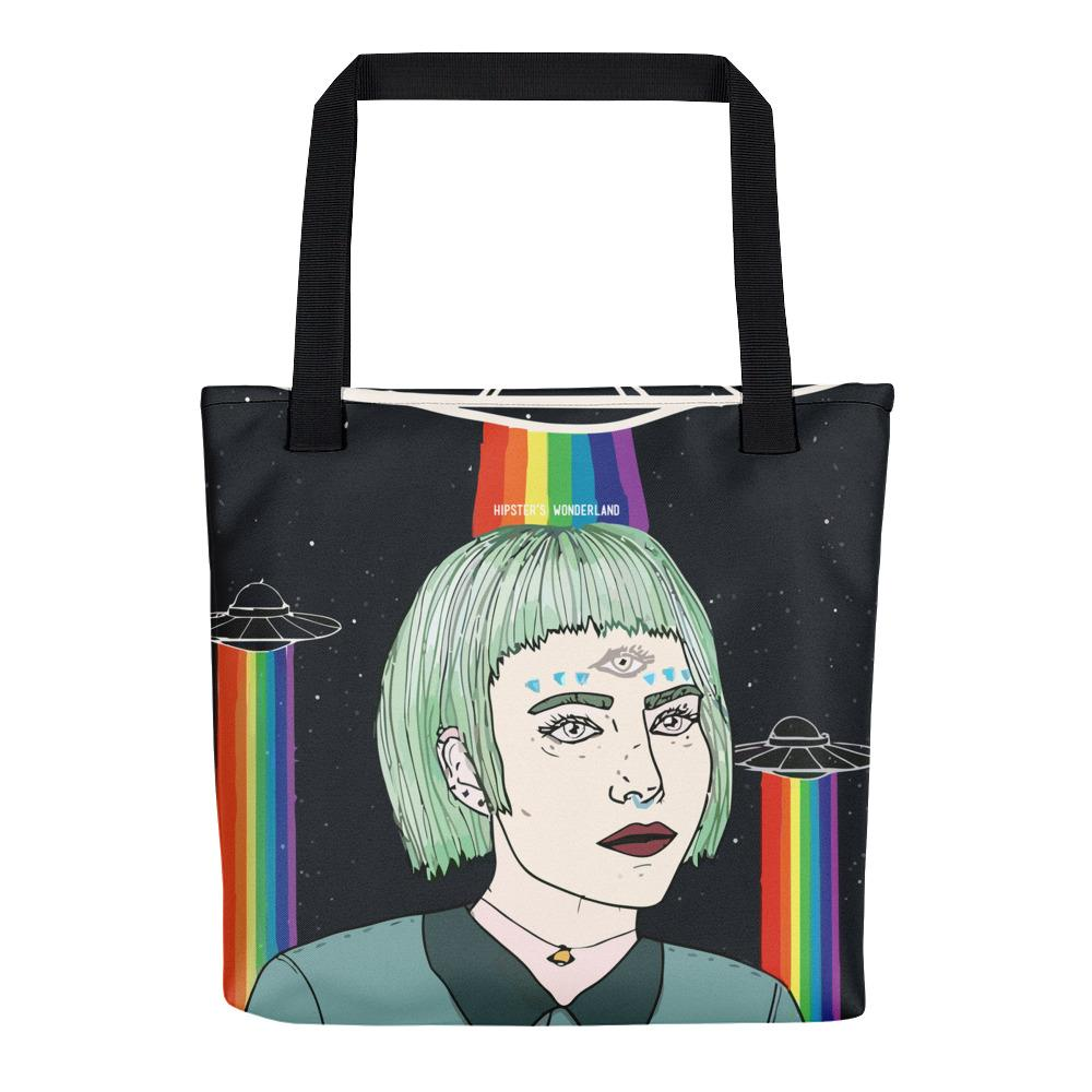 Alien Girl Tote Bag - Hipsters Wonderland - Tumblr Clothing - Tumblr Accessories- Aesthetic Clothing - Aesthetic Accessories - Hipster's Wonderland - Hipsterswonderland