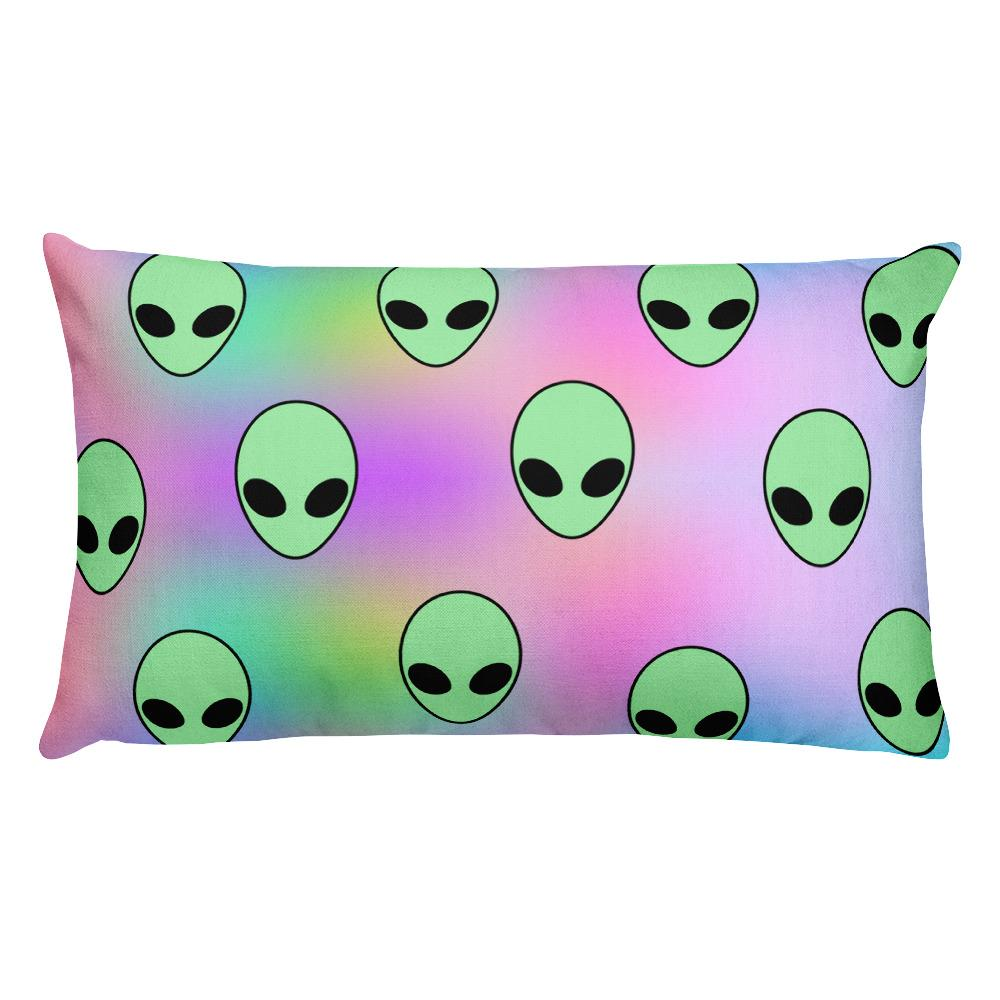 Aliens Rectangular Pillow - Hipsters Wonderland - Tumblr Clothing - Tumblr Accessories- Aesthetic Clothing - Aesthetic Accessories - Hipster's Wonderland - Hipsterswonderland