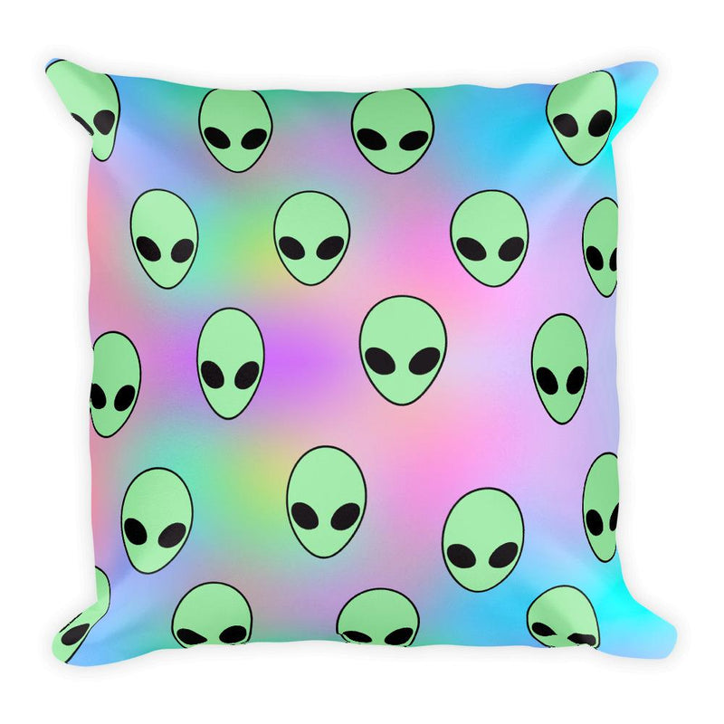 Aliens Square Pillow - Hipsters Wonderland - Tumblr Clothing - Tumblr Accessories- Aesthetic Clothing - Aesthetic Accessories - Hipster's Wonderland - Hipsterswonderland