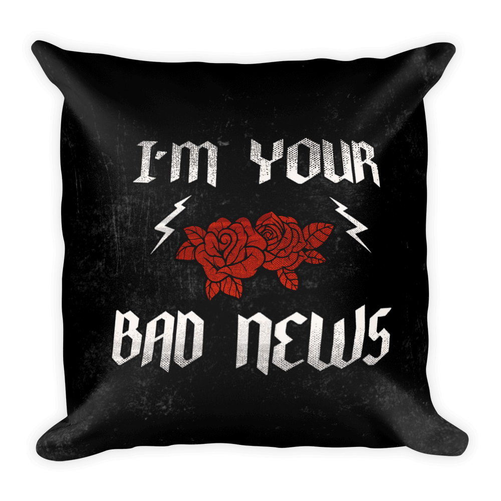 Bad News Square Pillow - Hipsters Wonderland - Tumblr Clothing - Tumblr Accessories- Aesthetic Clothing - Aesthetic Accessories - Hipster's Wonderland - Hipsterswonderland