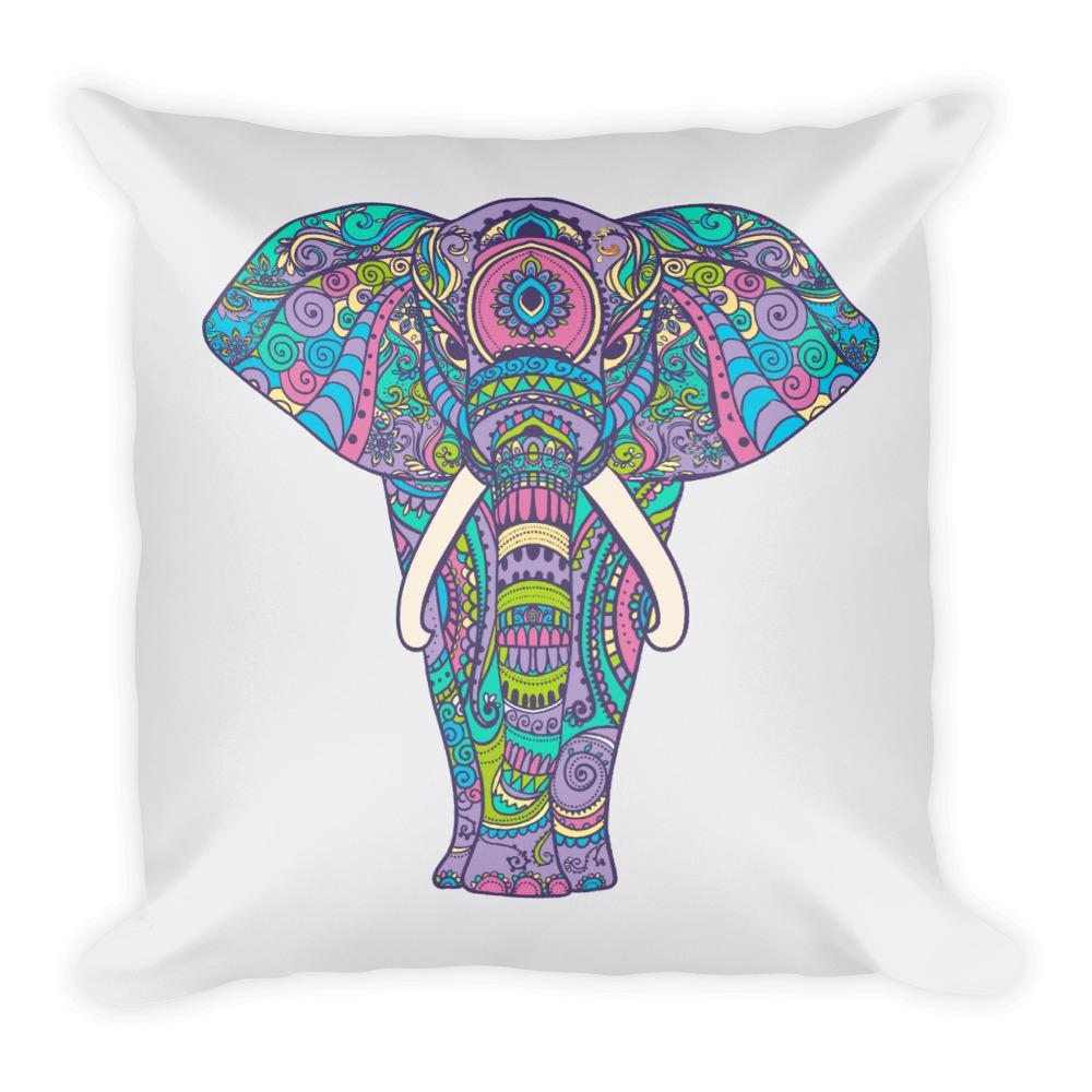 Elephant in Colors Square Pillow - Hipsters Wonderland - Tumblr Clothing - Tumblr Accessories- Aesthetic Clothing - Aesthetic Accessories - Hipster's Wonderland - Hipsterswonderland