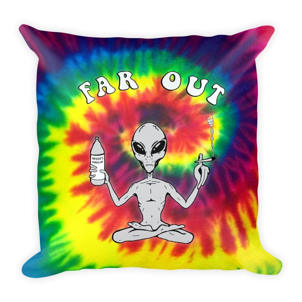 Far Out Alien (Tie Dye) Square Pillow - Hipsters Wonderland - Tumblr Clothing - Tumblr Accessories- Aesthetic Clothing - Aesthetic Accessories - Hipster's Wonderland - Hipsterswonderland