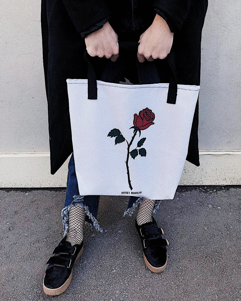 Red Rose Tote Bag - Hipsters Wonderland - Tumblr Clothing - Tumblr Accessories- Aesthetic Clothing - Aesthetic Accessories - Hipster's Wonderland - Hipsterswonderland