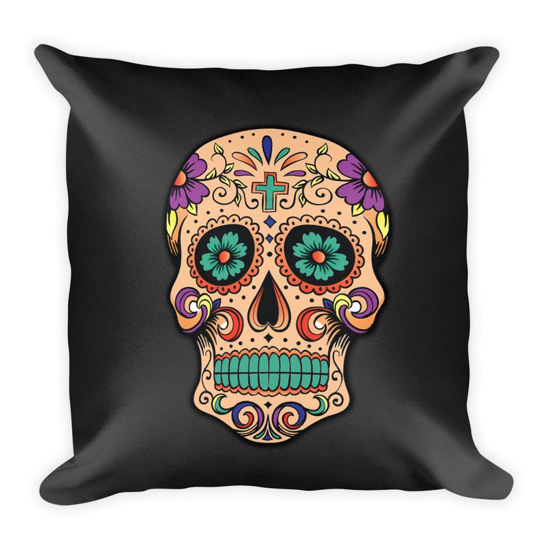 Sugar Skull Square Pillow - Hipsters Wonderland - Tumblr Clothing - Tumblr Accessories- Aesthetic Clothing - Aesthetic Accessories - Hipster's Wonderland - Hipsterswonderland